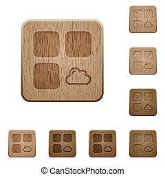 Cloud component on rounded square carved wooden button styles