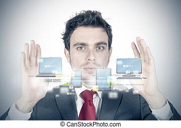 Cloud compute concept - Businessman and cloud compute ...