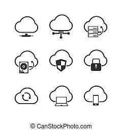 Cloud Computer icons set.