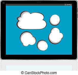 cloud-computing, 接続, 上に, ∥, デジタルタブレット, pc