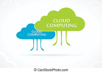 Cloud computing abstract vector logo
