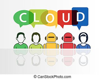 Cloud computing and automation concept with text