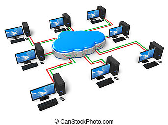 Cloud computing and computer networking concept isolated on...
