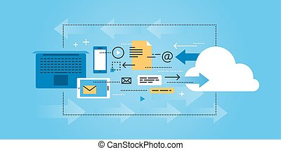 Cloud computing and data storage - Flat line design website...