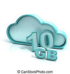 Cloud computing and database. 10 GB capacity. Concept of...