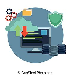 Cloud computing and database icons vector illustration...