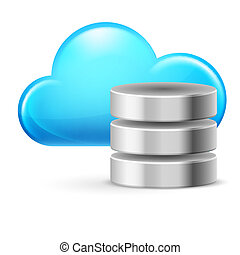Cloud computing and Database. Illustration on white