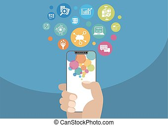 Cloud computing and mobility concept as vector illustration with hand holding modern bezel-free / frameless smartphone and icons