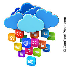 Cloud computing and mobility concept: blue glossy clouds...