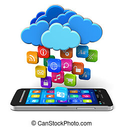 Cloud computing and mobility concept: touchscreen smartphone and blue glossy clouds with lot of color application icons isolated on white background Design of smartphone is my own and all text labels are fully abstract