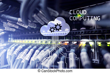 Cloud computing and networking concept on server room background.