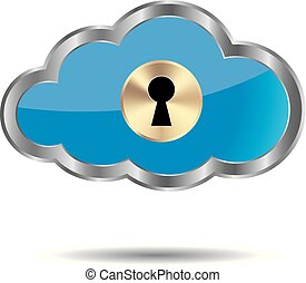 Cloud computing and networking design concept, Locked cloud symbol.