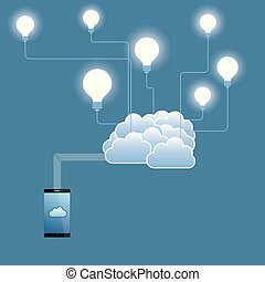 Cloud computing and networking design concept. The background is blue.
