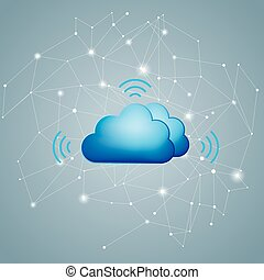 Cloud computing and networking design concept. The background is gray.