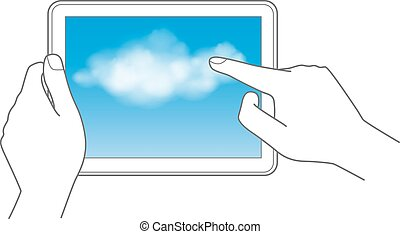 Cloud computing and touch pad concept hand holding tablet...