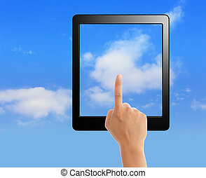 cloud computing and touch pad concept