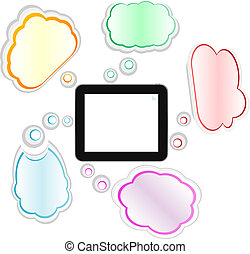 cloud computing and touch pad concept. tablet pc