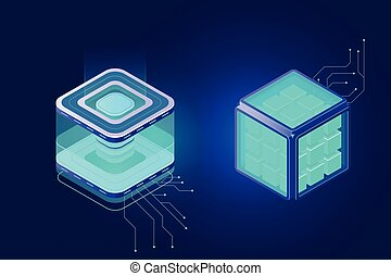 Cloud computing, big data isometric icon, server room rack ...