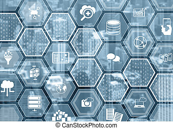Cloud computing blue blurred background with hexagon shapes and symbols