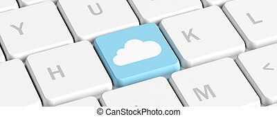 Cloud computing, blue key on a computer keyboard, banner. 3d illustration