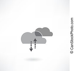 Cloud computing business concept background with creative cloud and arrows art