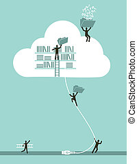 Cloud computing business concept illustration. Vector file layered for easy manipulation and custom coloring.