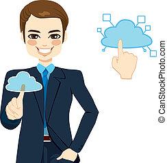 Cloud Computing Businessman Concept