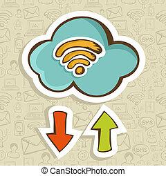 Cloud computing cartoon concept - Cloud computing cartoon...