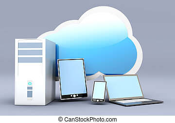 Cloud computing - Cloud computing. 3D rendered illustration....