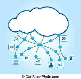 Cloud computing - communication concept with document icons