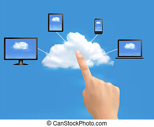 Cloud Computing concept background with hand. Vector...