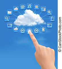 Cloud Computing concept background with hand. Vector illustration.