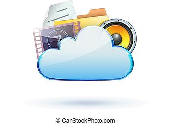 cloud computing concept - Vector illustration of cool cloud...