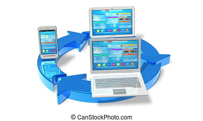 Cloud computing and wireless networking concept: white tablet PC, smartphone and laptop connected with blue round arrows isolated on white background *** Design of all objects used in this image is my own and all text labels are fully abstract