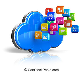 Cloud computing concept - Cloud computing internet concept:...