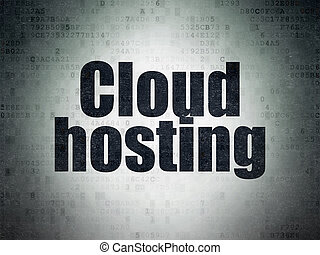 Cloud computing concept: Cloud Hosting on Digital Data Paper background