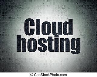 Cloud computing concept: Cloud Hosting on Digital Data Paper background