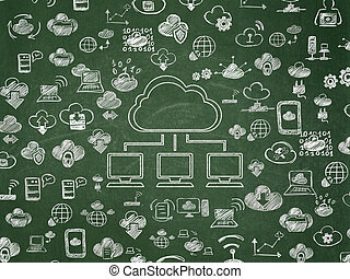 Cloud computing concept: Cloud Network on School Board background