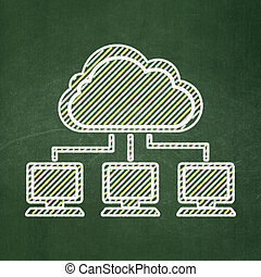 Cloud computing concept: Cloud Network on chalkboard background