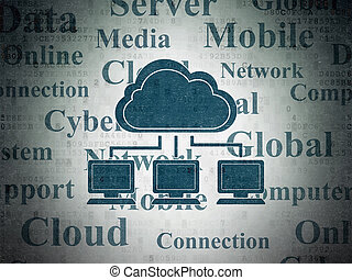 Cloud computing concept: Cloud Network on Digital Data Paper background