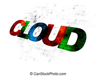 Cloud computing concept: Cloud on Digital background