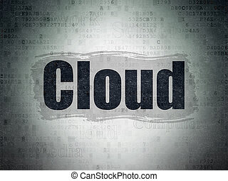 Cloud computing concept: Cloud on Digital Data Paper background