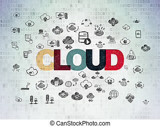 Cloud computing concept: Cloud on Digital Data Paper background
