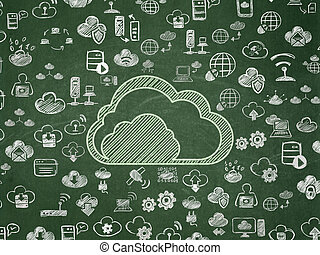 Cloud computing concept: Cloud on School board background
