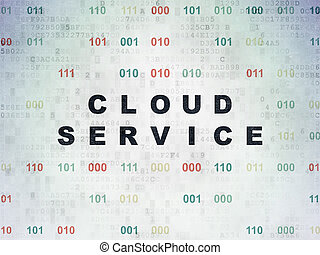 Cloud computing concept: Cloud Service on Digital Data Paper background