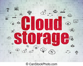 Cloud computing concept: Cloud Storage on Digital Data Paper background