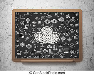 Cloud computing concept: Cloud With Code on School Board background