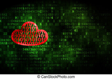 Cloud computing concept: Cloud With Code on digital background