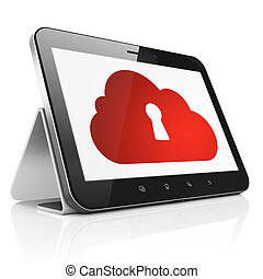 Cloud computing concept: Cloud With Keyhole on tablet pc computer