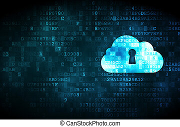 Cloud computing concept: Cloud With Keyhole on digital background